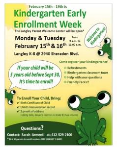 kindergarten early enrollment week for langley