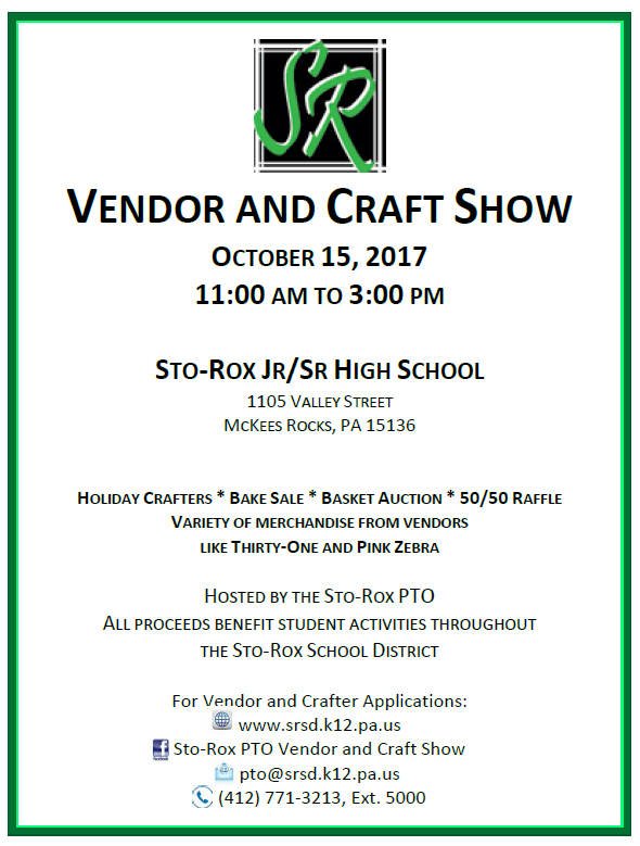 Sto-Rox Vendor and Craft Show Flyer