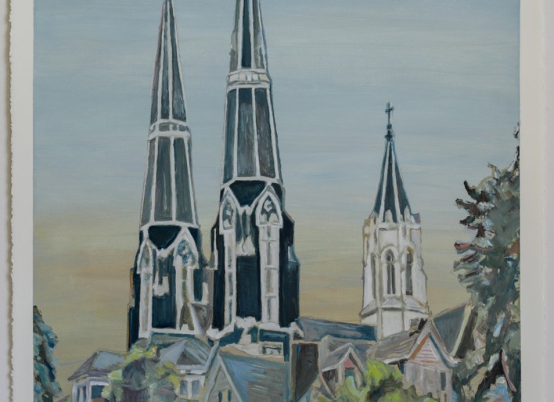 Oil painting of St. Mary Church in McKees Rocks by Italian artist Fabrizio Gerbino. Copyright 2019 Fabrizio Gerbino – All Rights Reserved