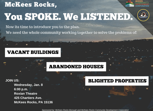 Abandoned property town hall set for Jan. 8 in McKees Rocks