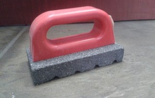Fluted Rubbing Brick w/Handle- Preferred by finishers for fast and easy concrete smoothing and dressing down, Fluted Silicon Carbide Contoured Handle to Minimize Fatigue
