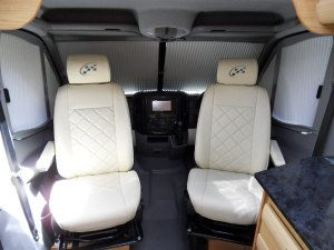 Mercedes motorhome cream leather swivel seats