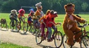 Muppets riding bicycles