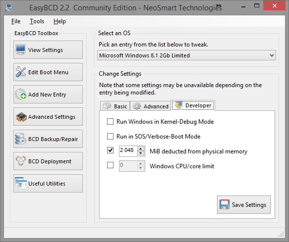 EasyBCD Advanced Settings