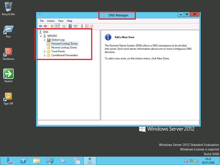 Windows Server 2012 DNS Management Console