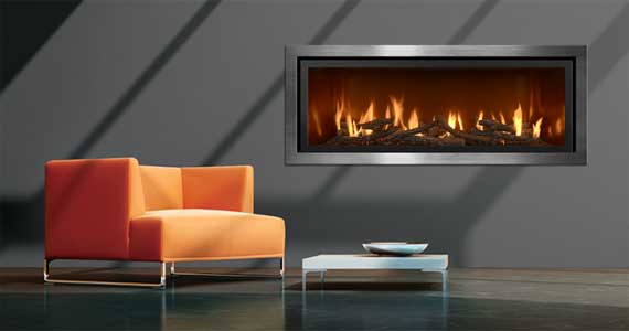 photo showcasing modern and industrial style fireplaces available at McNamara Fireplace and Stove