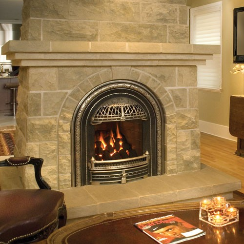 photo of a gas fireplace that resembles an 1800s style coal fireplace, perfect for historic homes, available and installed by McNamara Fireplace and Stove in Pearl River NY
