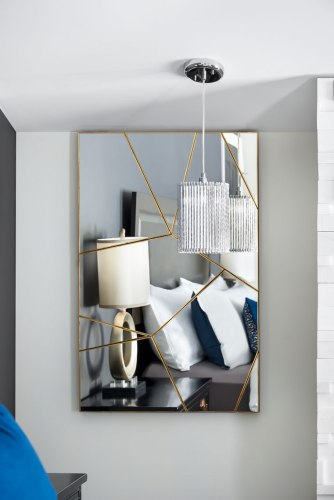 Two symmetrical graphic Mirrors in Master Bedroom from Project Woodington Avenue