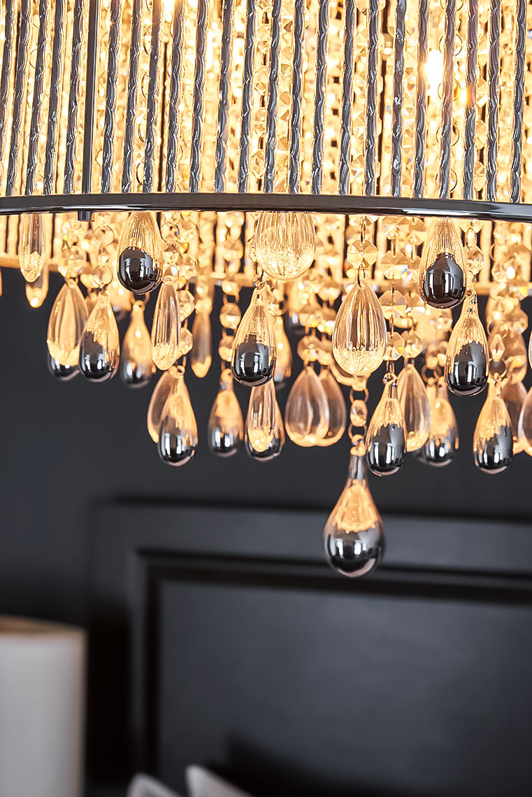 Dazzling Chandelier of Chrome and Mercury Glass