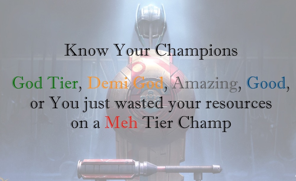 Champions Tier List for Offense - April 2019 Updated