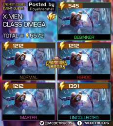 Number of Requires Energies to Explore X-Men Class Omega Event