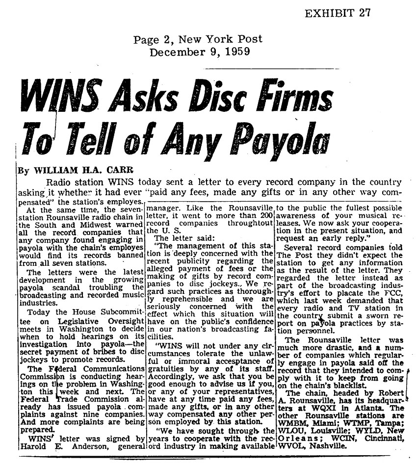payola scandal rocks 50s radio Payola wasn't new to the music industry when rock arrived, but several factors  at most radio stations now, a music director or manager selects the songs to be  by the late 50s, the post-war baby boomers were a sizeable.