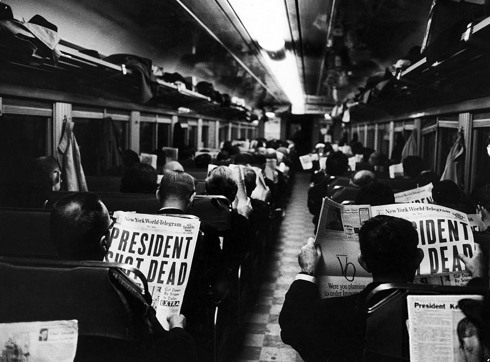 ABC RADIO  JFK ASSASSINATION  NOVEMBER 22  1963     A MOMENT IN TIME  New York City subway commuters reading the headline news   Late
