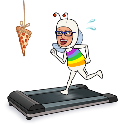 MC Fairy running on a treadmill with a piece of pizza dangling in front of her.
