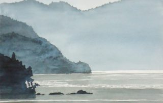 A water colour painting of the coast of Mill Bay at evening by Keith Cains.