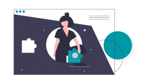A graphic of a woman in the middle of a webpage, holding a puzzle piece which would complete the page.