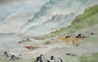 A water colour painting of a cougar chasing an otter at Buttle Lake by Keith Cains.
