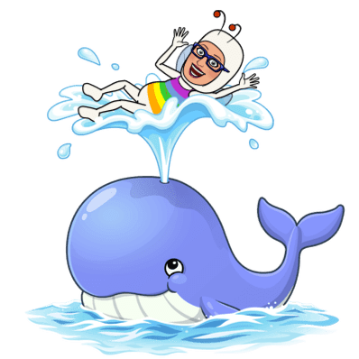 MC Fairy riding the jet stream from a happy-looking whale's blowhole.