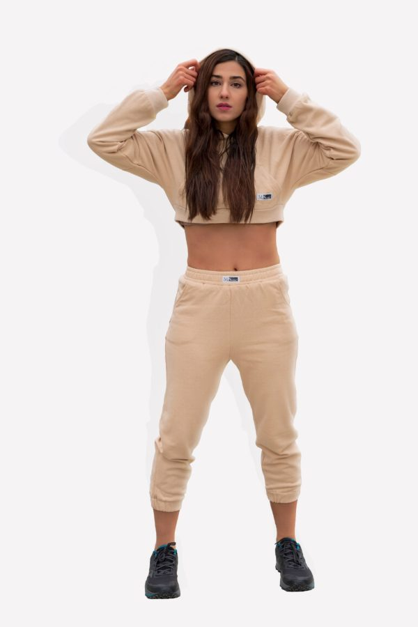 Drop Shoulder Cropped Hoodie and Jogger Set