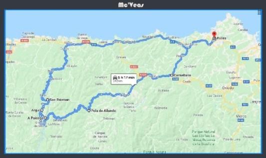 Mapa ruta Pueblos Perdidos de Asturias