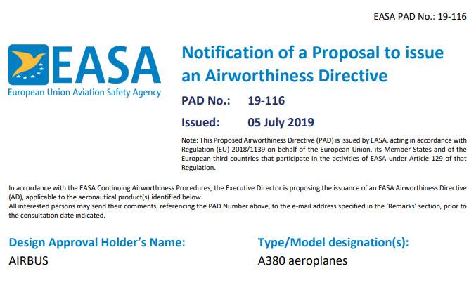 EASA PAD No 19 116