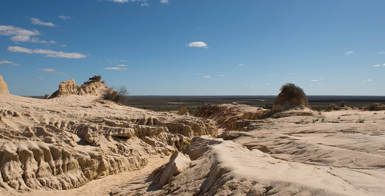 Harsh sandy cliffs at Lake Mungo in New South Wales.