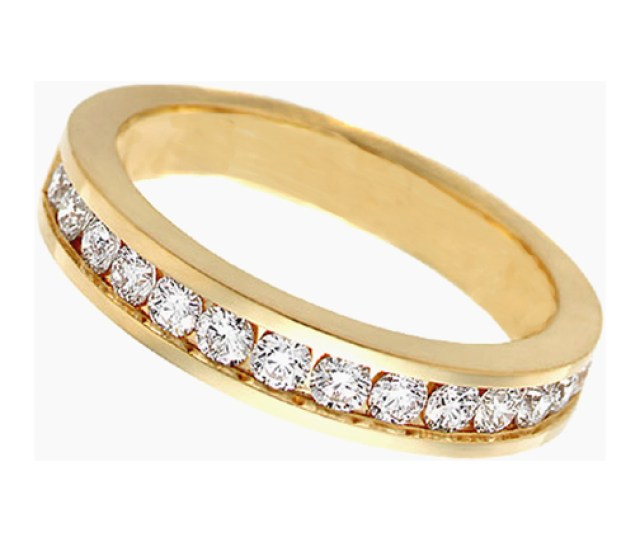 Round Diamond Wedding Band G Vs Tcw Channel Set In K Yellow Gold