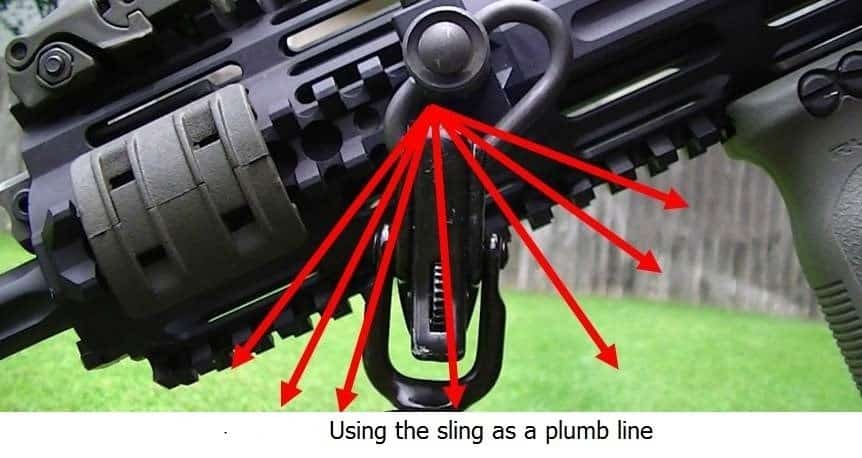 photo showing how to use a sling as a plumb line