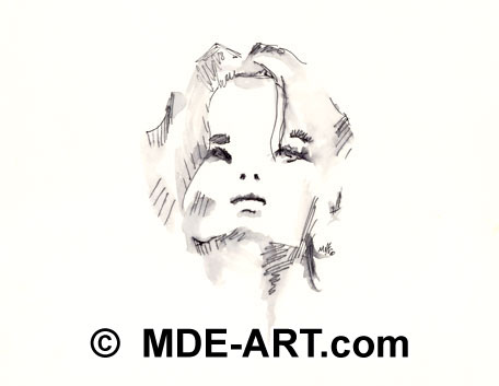 Pen and Ink Drawings, Woman Portrait Art 03