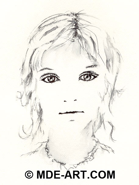 Pen Drawing of a Girl, Portrait