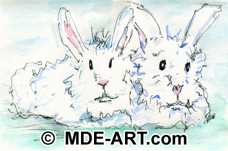 Watercolor Painting of Bunnies