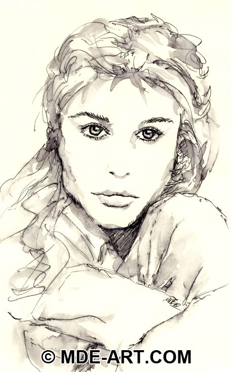 Portrait of a Woman Drawn in Pen and Ink