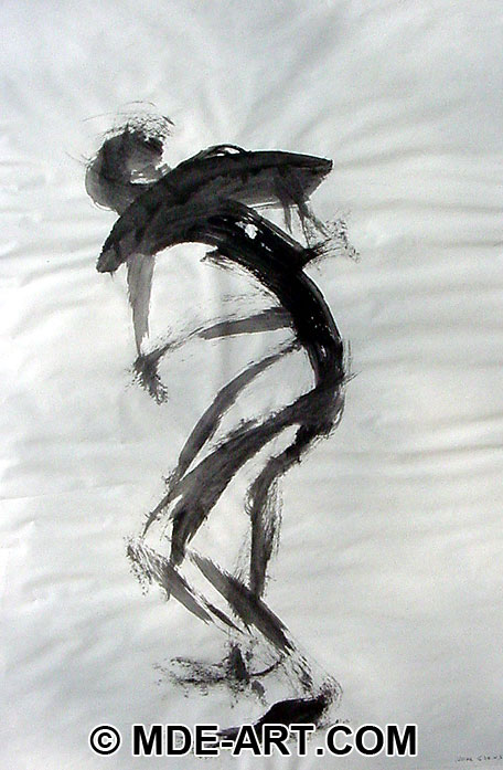 Acrylic Gesture Painting of a Figure from Life