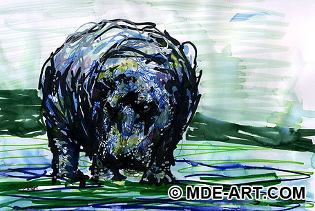 Original Drawing / Painting of a Hippopotamus, or Hippo for short