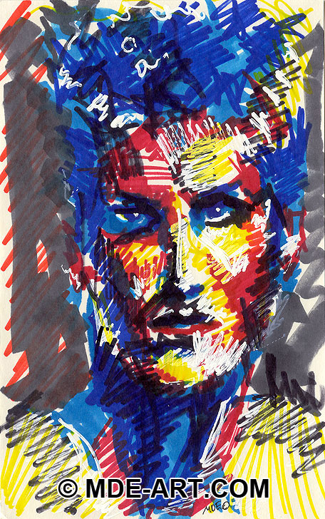 Expressive Abstract Portrait Drawing of a Male Face, drawn with colorful Markers and Paint Pens