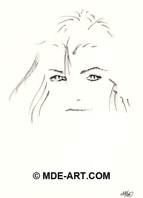 Pen Sketch of a Female Portrait Drawing