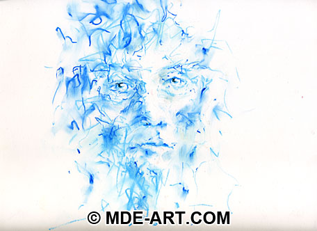 Impressionistic Portrait Drawing of an Old Man's Face with Oil Pastels