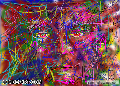 Digital Drawing of an Abstract Face of Lines and Color v2