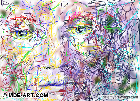 Digital Drawing of a Colorful Face with Squiggly Lines