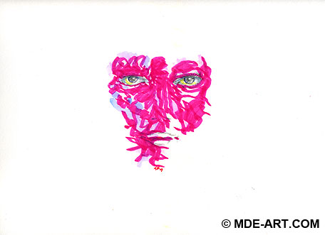Abstract Drawing of a Pink Face with Markers, Colored Pencil, Watercolor, and Glue