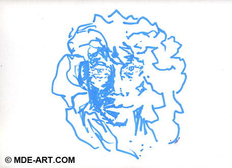 Line Drawing of an Abstract Portrait with Blue Marker