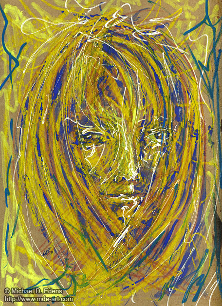 Hair 1 - Abstract Portraits and Faces - Sadness and Frustration Series