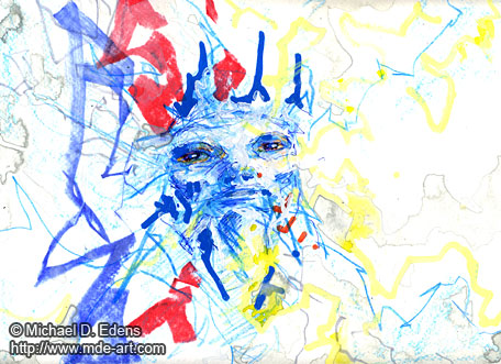 Painting and Drawing of an Abstract Demon Face 06