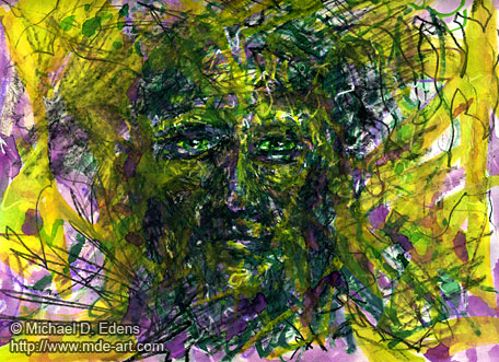 Drawing and Painting of an Abstract Demon Face 08