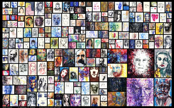 200 Faces – Collage of Artwork by Michael D. Edens