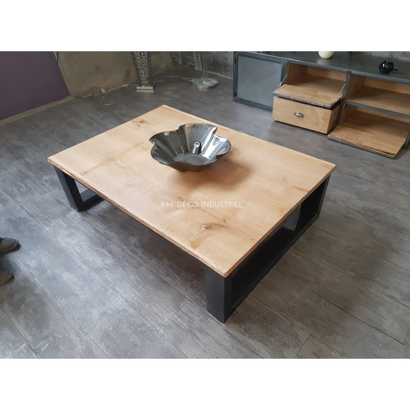 meuble industriel table basse chene massif naturel