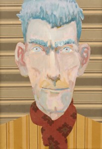 samuel beckett 1976 oil linen collage 46 38 cm