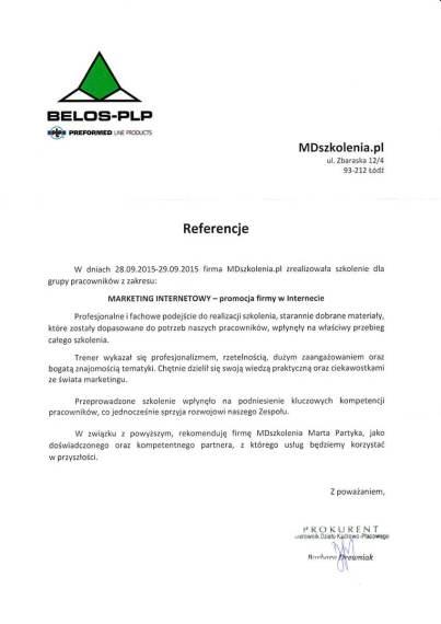 MDszkolenia.pl_Referencje_Marketing internetowy - promocja firmy w Internecie
