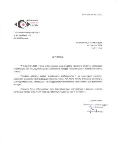 MDszkolenia.pl_Referencje_Wykorzystywanie darmowych narzędzi internetowych