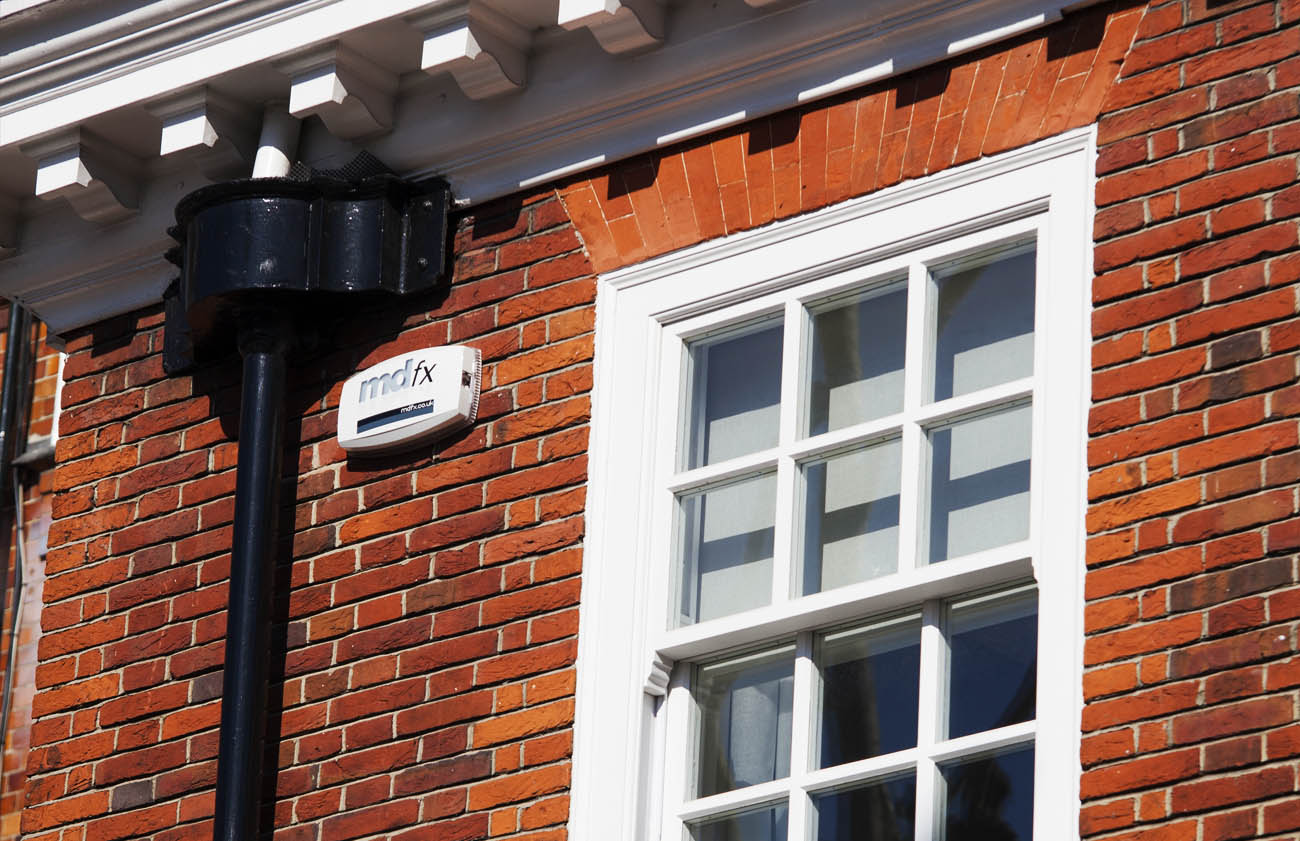 Image of MDfx alarm system installed to residential property